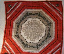 """VINTAGE RED BLACK GREY & WHITE 100% SILK SCARF 32"""" Square Hand Rolled Edges"""