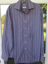 Thomas Dean Long Sleeve Cotton Multi-Color Striped Flip Cuffs Casual Shirt Large