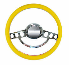 Yellow and Chrome Hot Rod Steering Wheel -- 9 Hole for GM Columns, Ididit, etc.