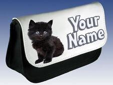 BLACK KITTEN CAT PERSONALISED PENCIL CASE / MAKE UP BAG / DS BAG  *NAMED GIFT*