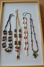 lot 4 pcs Tribal Native Canadian hand carved horn necklace 1 antique necklace