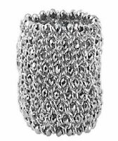 Silver Metallic Glass Bead Bracelet