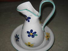 Antique Water Pitcher and Bowl Pottery from Italy Hand Painted