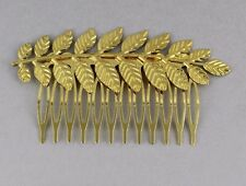 Gold tone laurel leaf leaves metal side clip hair comb french twist prom dressy