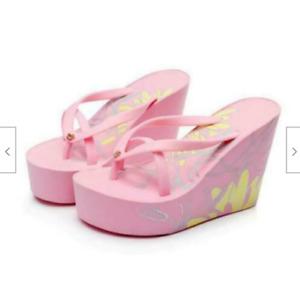 Women's Platform High Wedge Heel print Beach Sandals Bow Tie Flip Flops slippers