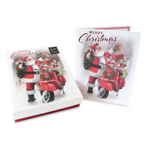 12pk Traditional Boxed Cards Santa with a scooter Christmas 150 x 200 mm