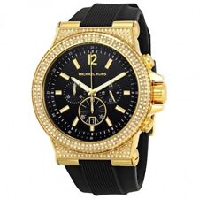 14b13c6446ef NEW MICHAEL KORS Dylan Black Dial Gold Ladies Crystal Silicone band Watch  MK8556
