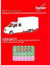 HERPA MiniKit 1:87/H0 MB Sprinter Doppelkabine mit Koffer, Bausatz, weiß #013666
