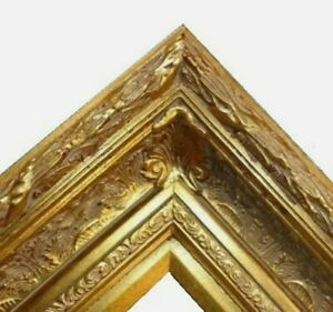 """5.5"""" WIDE Gold Antique photo family Oil Painting Wood Picture Frame 668G"""