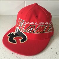 CALGARY FLAMES Size 6 7/8 - 7 1/4 Big Logo Hat - NHL Hockey