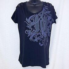 Fox Women's Size Med Black Short Sleeve T-Shirt Cut Out Shoulder Line