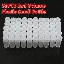 50pcs 5ml Tube à Essai Flacon Echantillon Conteneur Pilule Pilulier Plastique