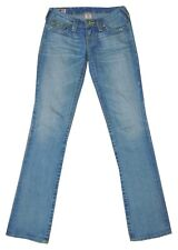 "True Religion ""Billy"" azul lavado de pierna recta delgada Bolsillo Tapa Jeans 25"