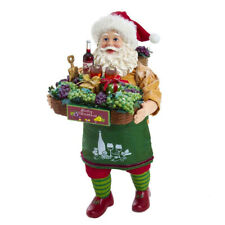Kurt Adler Fabriché Santa Holding Wine Basket FA0133 Christmas Figurine