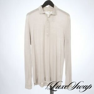 Massimo Alba Made in Italy Pearl Infused Sand Slubby Draped Greige Polo Shirt M