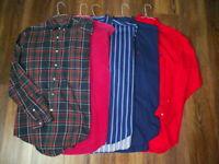 Lot Of 5 Ralph Lauren Polo Long Sleeve Button Front Shirts Men's M Medium