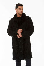 Mens Swakara Fur Coat Black - Mink Fur Collar