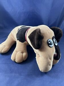 """Pound Puppies Puppy Tonka 1985 Vintage Brown Spots Plush Dog 18"""" With Collar"""
