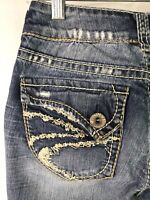 Silver Jeans Women's Suki Surplus Bootcut Frayed Hems Flap Pocket Size 26 x 30L