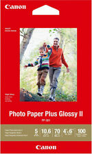 """Pack Of 100 Canon Pp-301 Plus Glossy Ii Photo Paper Sheets White 4"""" x 6"""" New"""