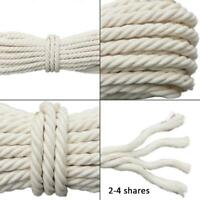 4-20mm Macrame Rope Natural Beige Cotton Twisted Cord Artisan Hand Craft 20/50M