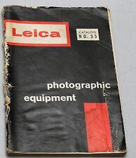 Leitz LEICA PHOTOGRAPHIC EQUIPMENT Catalog #35 Vintage Manual Camera Guide Book