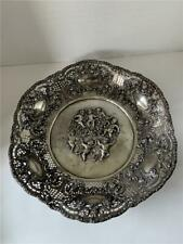 19c German 800 Silver Repousse Silver Huge Exquisite Cherubs Flowers Charger