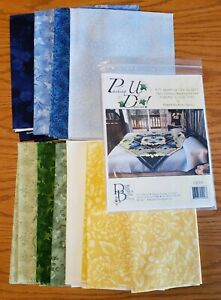 """R Kaufman Pushing up the Daisies Quilt Kit New Fusion Fabrics 70""""x70"""" - Blue"""