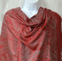 Red color double sided silk blend paisley all over Shawl, Stole, Wrap from India