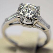 2.03 Carat Round Brilliant Diamond Ring Platinum Ladies Size 5  GIA Certificate
