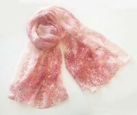 Italian Pure Silk Lady Large Shawl Hair Neck Head Scarf Rose Pink Leaf Blossom