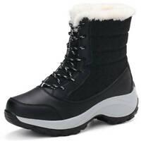 Schneeschuhe Damen Winter Wasserdicht Warm Stiefel Stiefeletten Flache Boots B