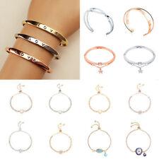 Fashion Charm Women Stainless Steel Crystal Lots Style Cuff Open Bracelet Bangle