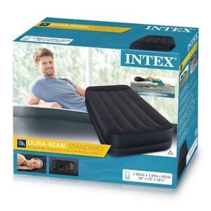Intex Single Twin Size Raised Inflatable Air Bed Mattress Airbed Electric Pump