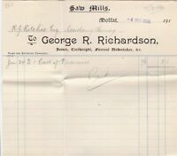 George R. Richardson 1916 Sawmills Moffat One Cart of Pinewood Invoice Ref 41668