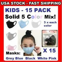 KIDS Masks 15 Pack (5 Colors X 3) Face Covering 3D Boys ❤ Girls Reusable Child