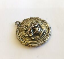 Antique Vintage Victorian Gold/Silver Drop/Locket With Multi Colored Flowers