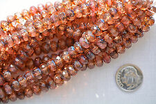 (15) Czech Glass 5x8mm Faceted Donut - Transparent Rose Picasso #DON58-TRP