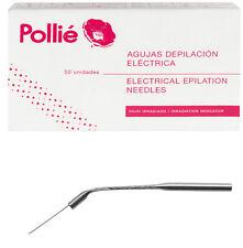 50 Agujas Inclinada Depilacion Electrica inoxidaBle Pollie Estetica ProfesionaL
