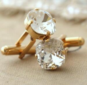 4.00Ct Cushion White Moissanite Cufflinks for Man Valentine Gift 14k Yellow Gold