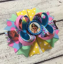 "5"" Moana Stacked Boutique Hair Bow Clip Handmade"