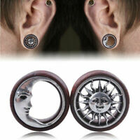 Pair of Wood Sun & Moon Hollow Ear Gauges Flesh Tunnel Ear Plugs Expander 8-20MM