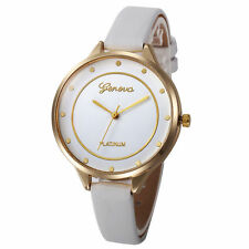 Ladies Fashion Geneva Platinum Quartz Gold Case White Dial Slim Band Wrist Watch