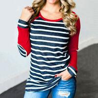 Women Stripe Patch Baseball Raglan Long Sleeve Tee Blouse Casual Top T-Shirt