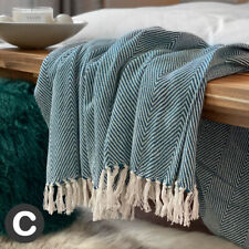 Luxury Large Teal Blue Green Eco Cotton Herringbone Soft Bed Sofa Blanket Throw
