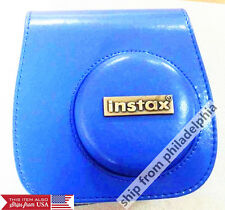 blue PU Leather Camera Shoulder Bag Case Pouch For Fujifilm Instax Mini 8