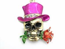 Skull Top Hat Pink Pendant Women Necklace Gold Plated New