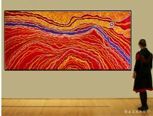 HUGE 190cm by 90cm Dot Painting, Original Abstract Contemporary Aboriginal style