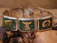 Vintage Mexican Green and Blue Chip Inlay Sterling Silver Link Bracelet