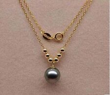 """Fine 18K Yellow Gold 16"""" Chain AAA 9-10mm Black Tahitian Pearl Pendant Necklace"""